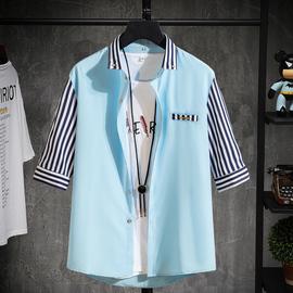 夏季短袖衬衫男7七分袖衬衣服中袖纯色修身韩版潮流帅气休闲寸衫图片