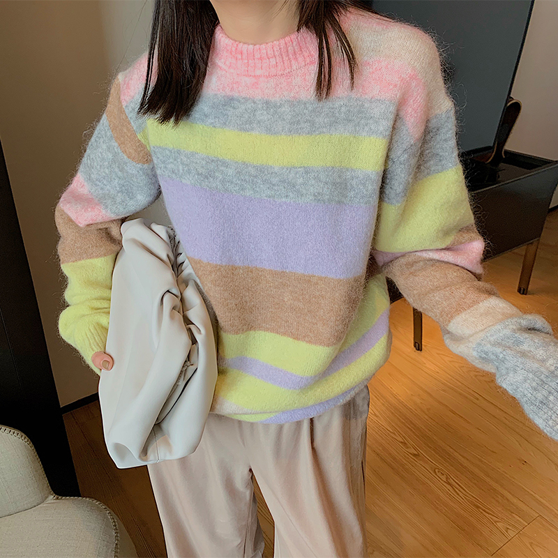 Ministyle rainbow stripe sweater womens new winter 2019 long sleeve top loose round neck Pullover Sweater