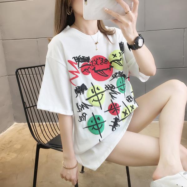 TS24715#新款上衣女夏装百搭短袖T恤女设计感小众洋气外贸