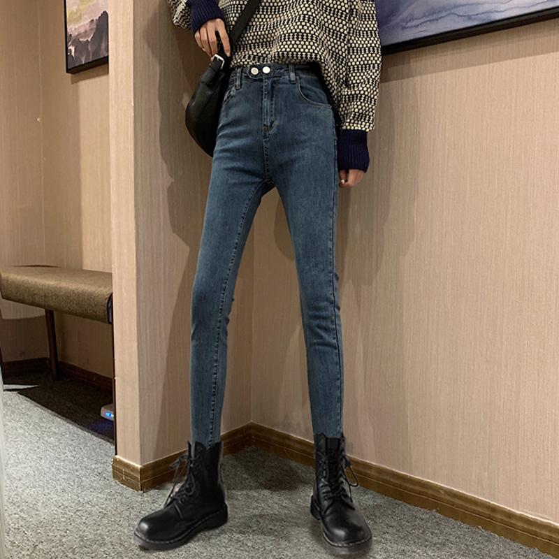 牛仔裤女2019秋冬新款高腰直筒显瘦小脚铅笔修身复古港风chic裤子
