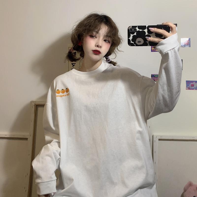 长袖女装韩版宽松早春秋季白色t恤