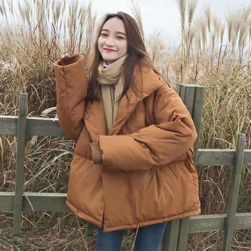 冬季女装韩版立领bf风宽松茧型A字加厚棉衣保暖棉服外套学生棉袄