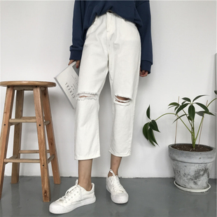 Spring clothing female attire Han version loose mahjong piece something like a joker card high waist crack white jeans extravagant leg pants straight non-tapering pants eight point pants pants