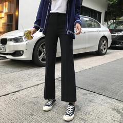 春装女装韩版高腰黑色厚实小西裤显瘦九分裤休闲裤长裤宽松直筒裤