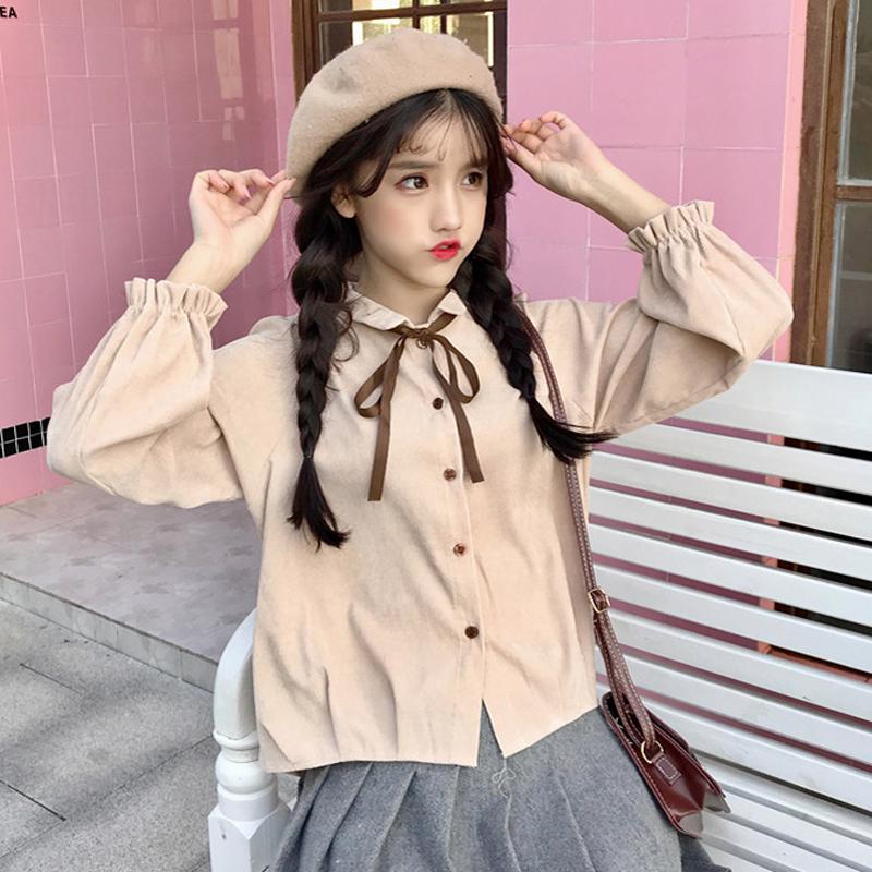 秋冬女装韩版小清新灯芯绒蝴蝶结系带长袖衬衫上衣学生打底衫衬衣