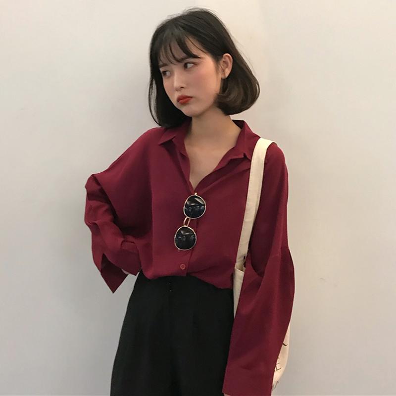 秋季女装韩版气质纯色宽松翻领雪纺衬衫中长款长袖休闲衬衣上衣潮