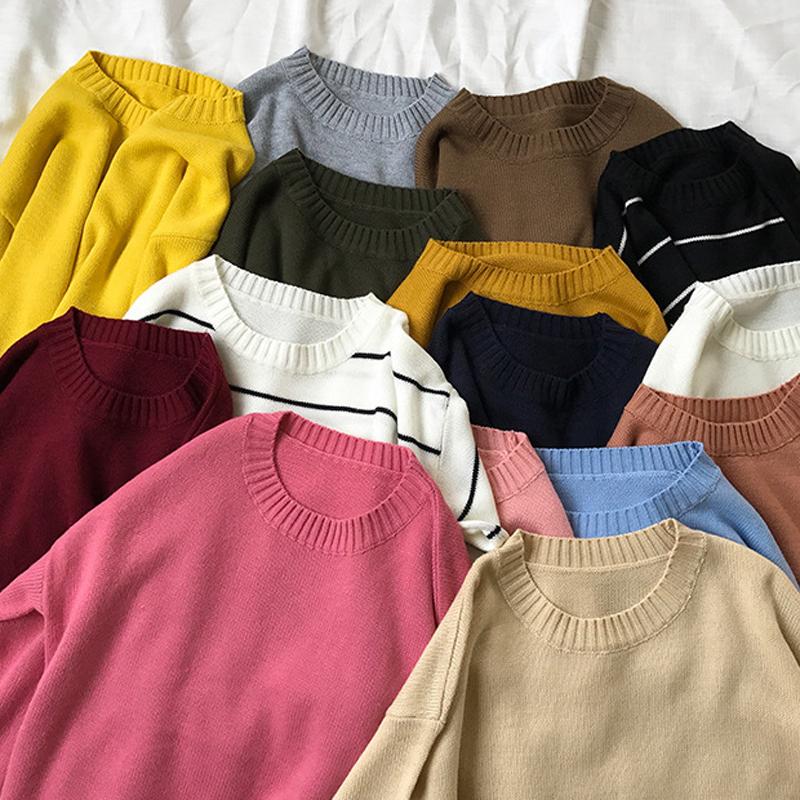 春秋女装新款韩版纯色基础款宽松百搭圆领套头毛衣长袖针织衫上衣
