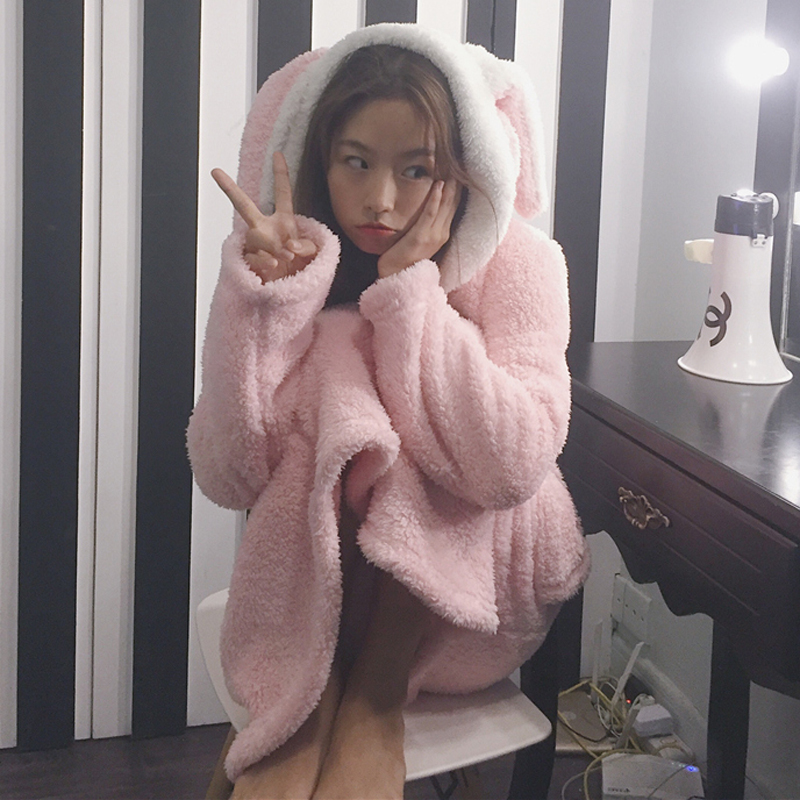Осень и зима корейский длина утолщённый может кролик ухо длинный рукав пижама платье студент случайный домой женская одежда ученый