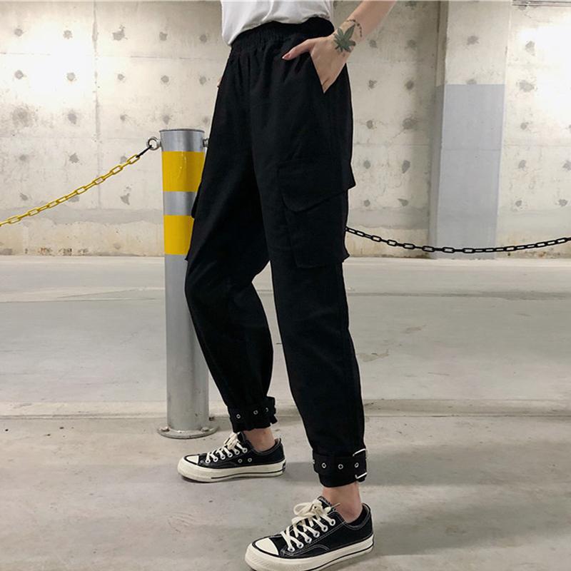 秋季女装韩版宽松BF风工装束脚裤高腰显瘦直筒裤哈伦裤休闲裤长裤
