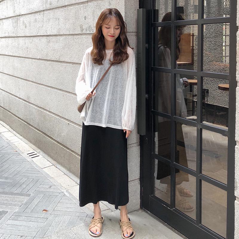 夏季女装韩版中长款吊带裙纯色气质修身显瘦连衣裙长裙+防晒罩衫