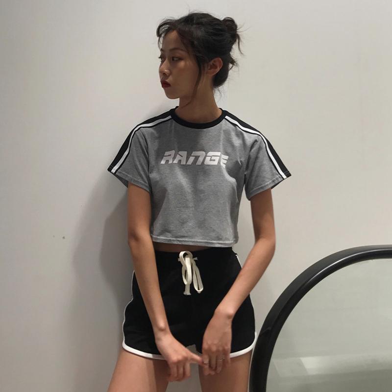 韩版时尚套装夏季女装拼色短款字母印花上衣+条杠包边短裤两件套