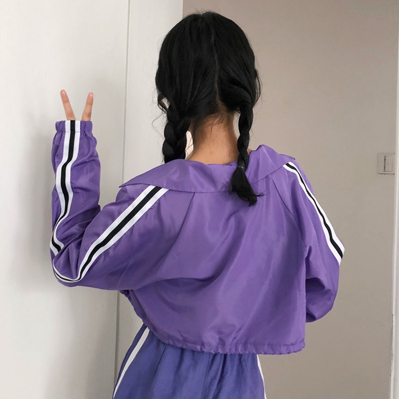 夏装女装韩版原宿风织带长袖短款抽绳防晒衣宽松薄款休闲上衣外套