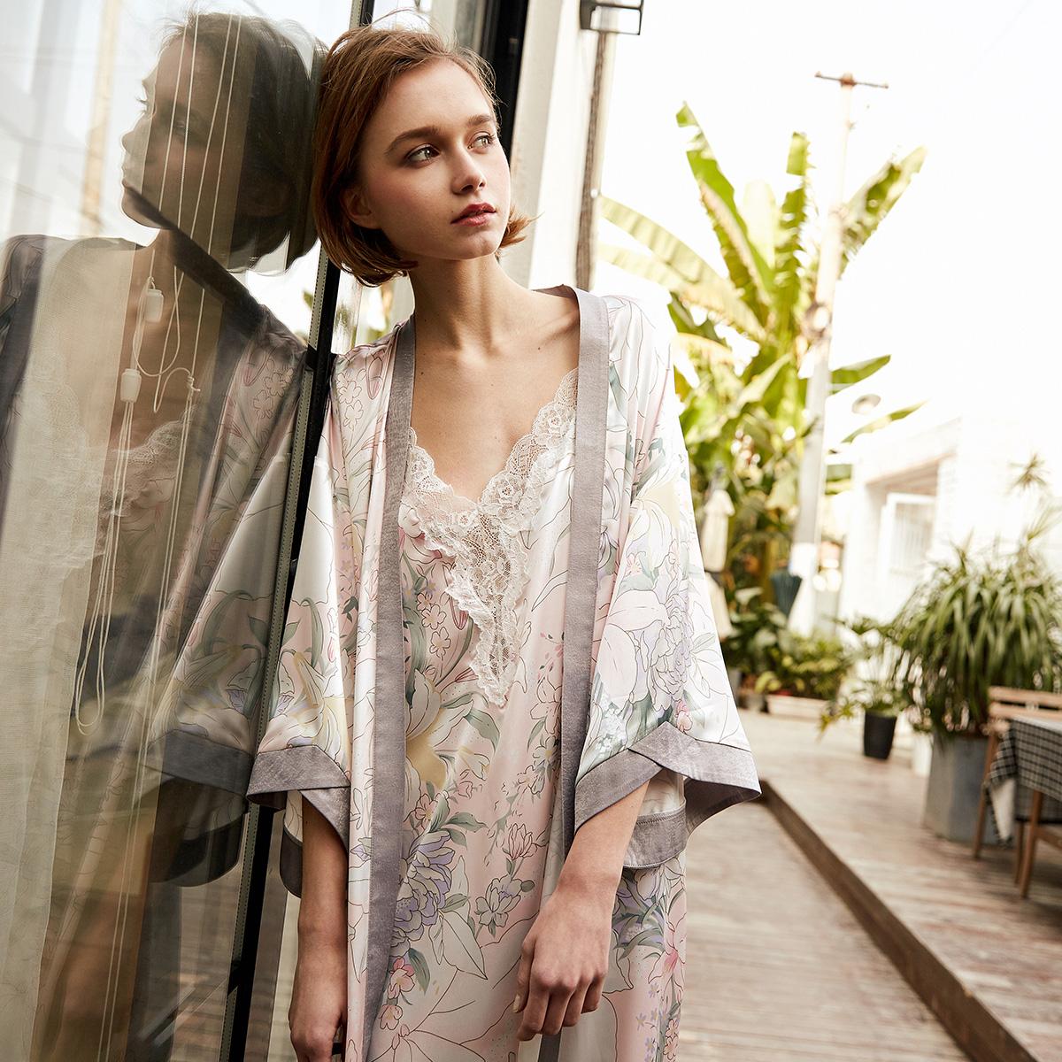 PJM весна сезон новой деятельности ночное белье женщина смысл цвет hit печать падения плечо восемь рукав уютный пижама домой одежда халаты