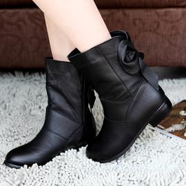 短靴女春秋单靴真皮妈妈鞋粗跟女士皮靴中跟棉鞋女冬加绒休闲靴子图片