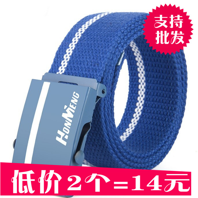 8.5 yuan for men and women lovers automatic canvas belt, Korean printed fabric belt, fashion belt