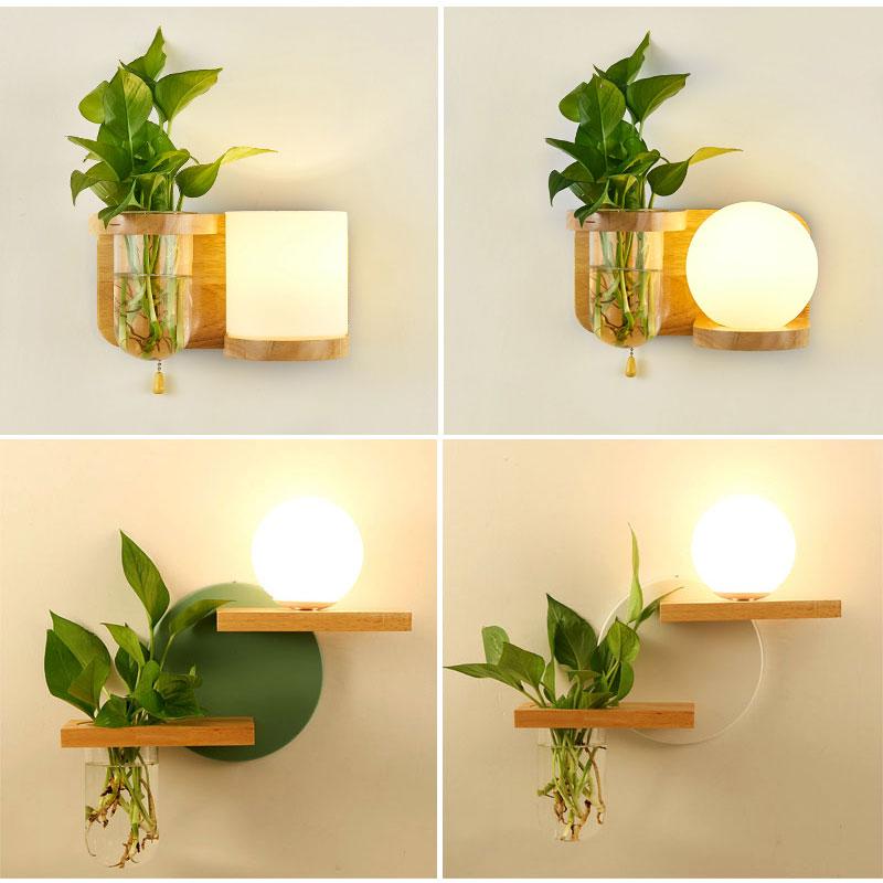 绿色植物壁灯 温馨卧室儿童房床头灯绿植过道壁灯电视背景墙壁灯(用103.95元券)