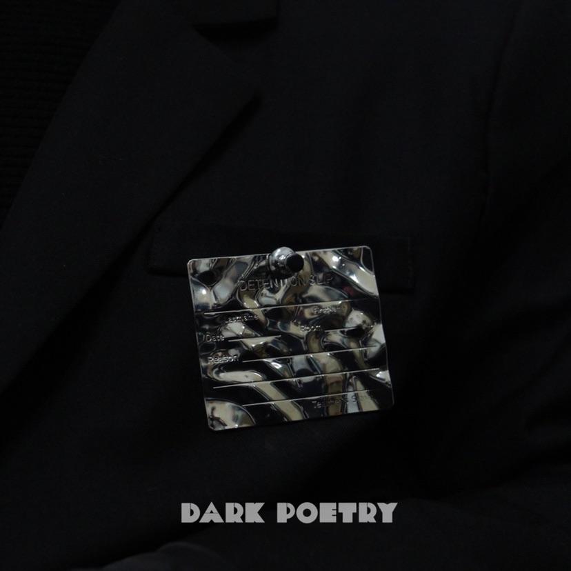 DarkPoetry黑色诗歌 无性别潮流个性工牌褶皱胸针银色西装胸针