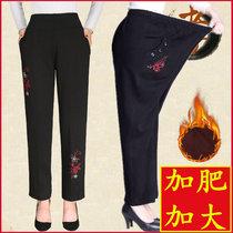 200斤中老年人女秋冬装裤子40-50岁60大码妈妈奶奶加肥加绒厚长裤