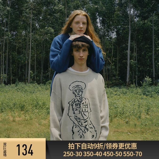 VIISHOW潮牌秋季新款2019精品针织衫男版人物图案街头风毛衣线衫