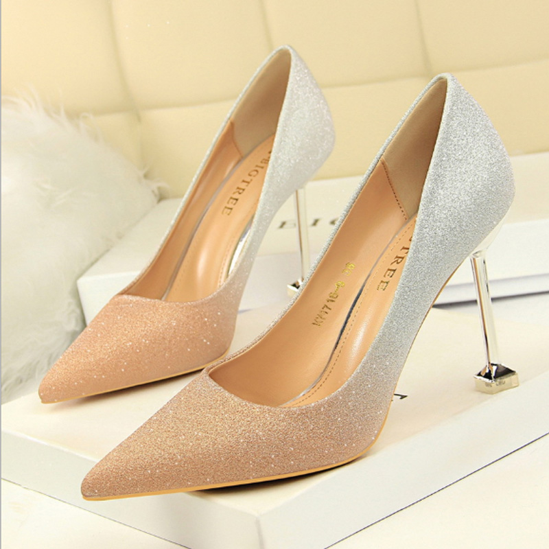 Korean fashion thin heel high heel light mouth pointed color matching shiny color gradient high heels sexy thin womens single shoes