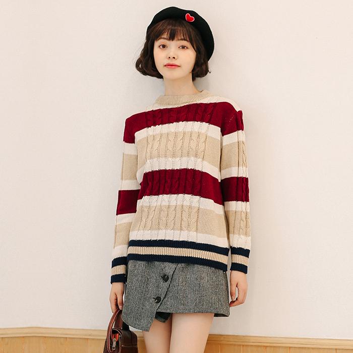 LEMON实拍秋装学院学生清新韩版宽松长袖条纹拼色针织衫毛衣9156