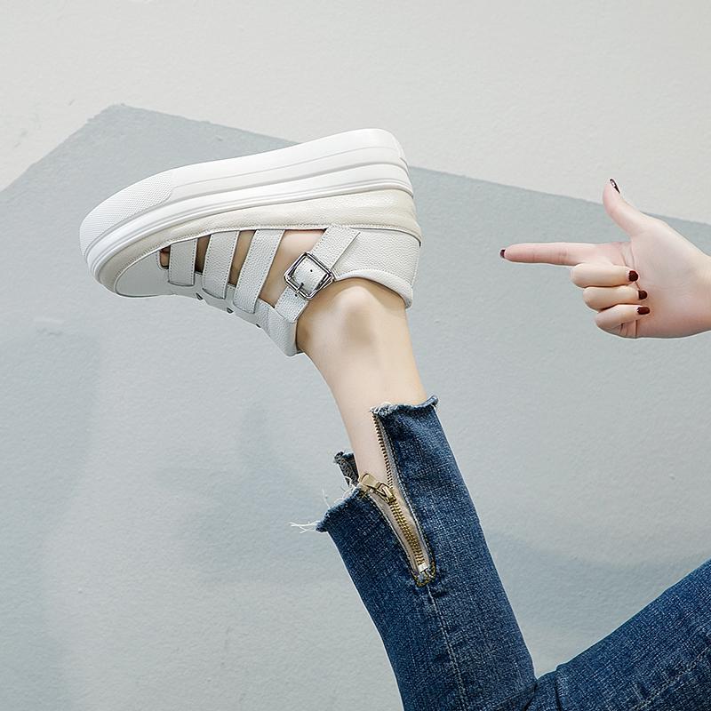 罗马包头厚底凉鞋女夏季2020新款百搭韩版真皮坡跟松糕内增高女鞋