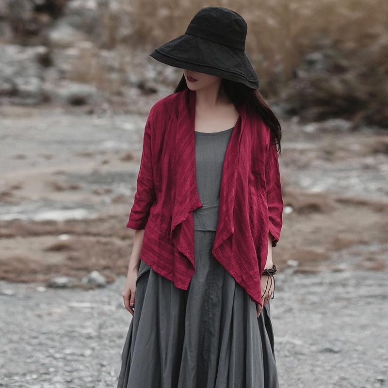 原创夏季七分袖不规则棉麻条纹短外套女薄款披肩百搭外搭短款开衫
