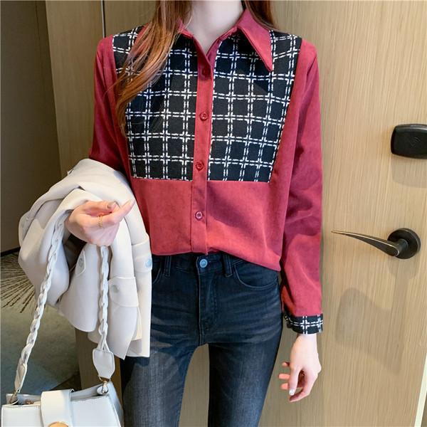 KTY12460#韩版长袖衬衫拼接衬衣外穿chic宽松复古上衣