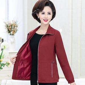 妈妈春装休闲夹克新款40-50岁洋气中老年人女装春秋短风衣薄外套