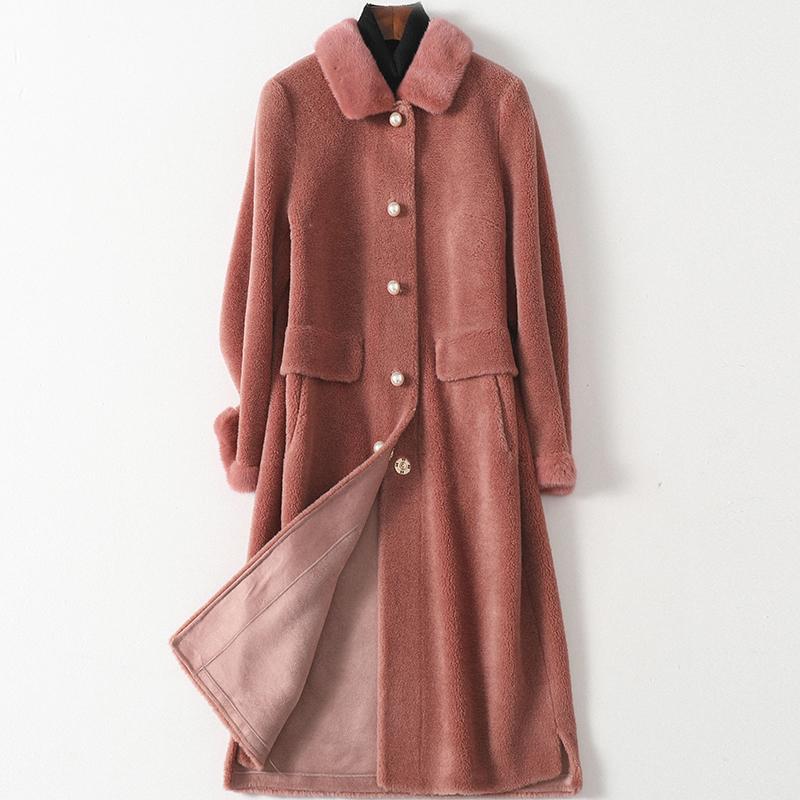 帕波仕蒂2020春季新款羊毛皮草大衣女士时尚长款复合皮毛一体外套图片