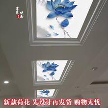 中空ガラスの天井の装飾を介してインク蓮の竹3Dアートガラスの入り口の廊下の天井光学ガラス