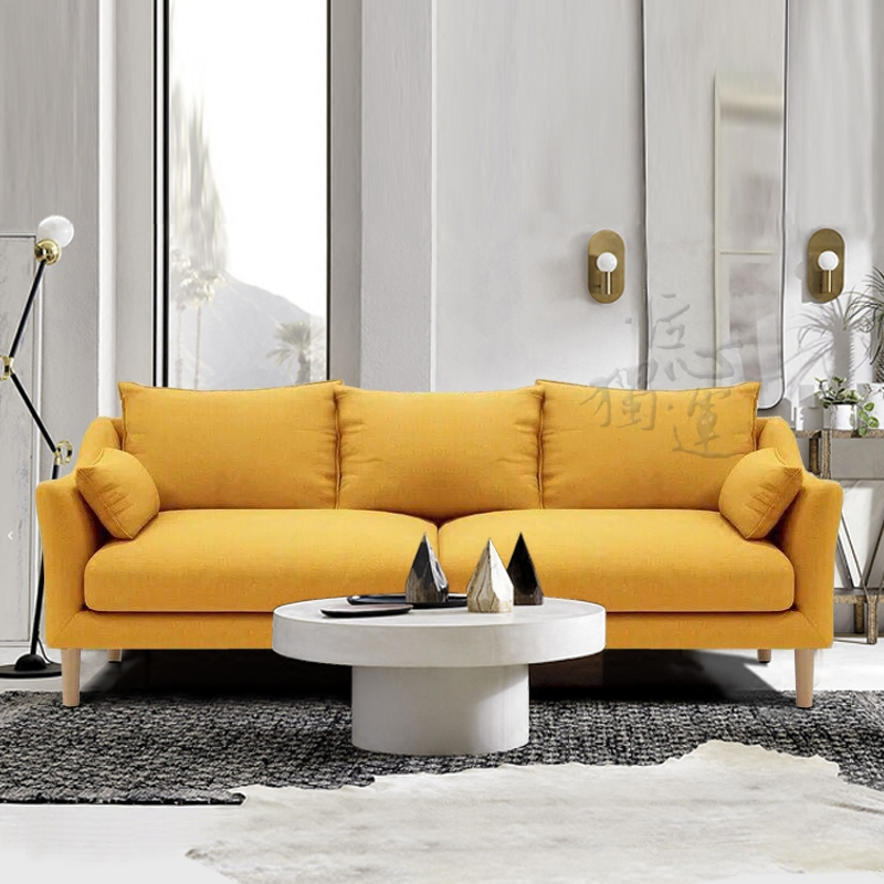 380.00元包邮北欧简约小户型客厅布艺乳胶沙发现代卧室单双人三人布沙发可拆洗