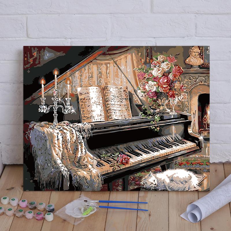 DIY数字油彩画动物花卉卡通静物客厅大幅数码手绘装饰画钢琴小猫图片