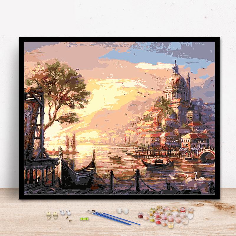 日落海邊diy風景大海客廳臥室數碼填色手工繪裝飾油彩畫數字油畫