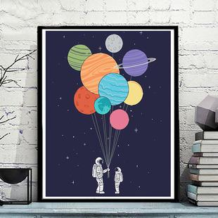 饰画儿童挂画 数字油画diy减压手工油彩画宇航员星空宇宙DIY手绘装