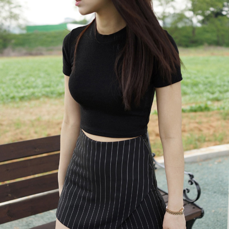 Womens 2021 T-shirt short sleeve cotton solid high collar bottomed shirt sexy navel exposed Yoga short slim fit inner top