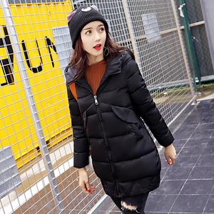 实拍欧洲站2017冬新款修身羽绒棉服女韩版中长款连帽加厚棉衣1682