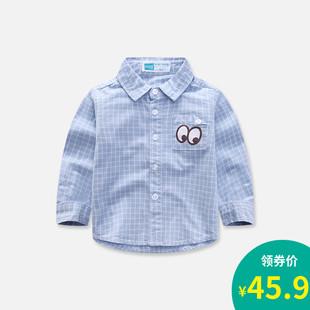 儿童长袖衬衫宝宝春秋装新款小童时尚衬衣婴幼儿纯棉卡通格子衫潮