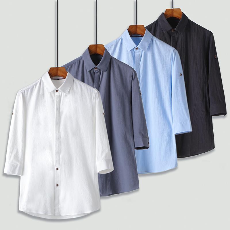 纯棉衬衫男士七分袖夏季新款韩版衬衣帅气修身寸衫 2002-CS70-P35