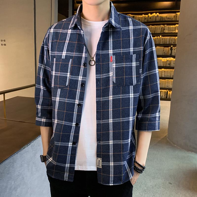 夏季男士七分袖格子衬衫韩版修身衬衣青年百搭寸衫2002-CS106-P30
