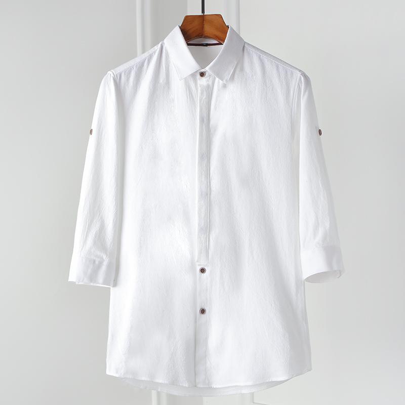 新款纯棉衬衫男士夏季七分袖韩版衬衣帅气修身寸衫 2002-CS70-P35