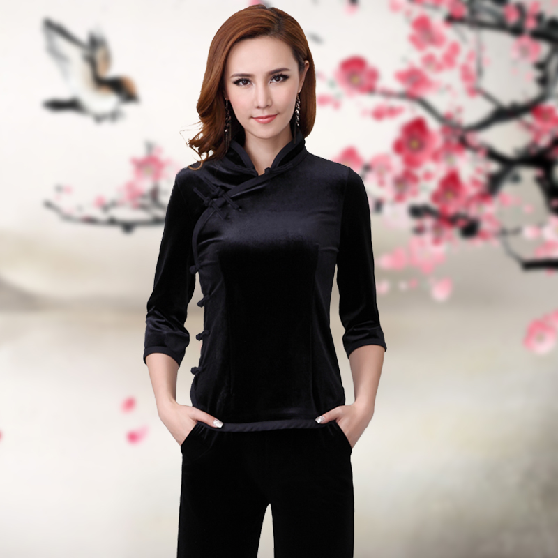 Improved fashion short long sleeve Chinese style girl Tang Costume National retro Chinese style button gold velvet cheongsam top