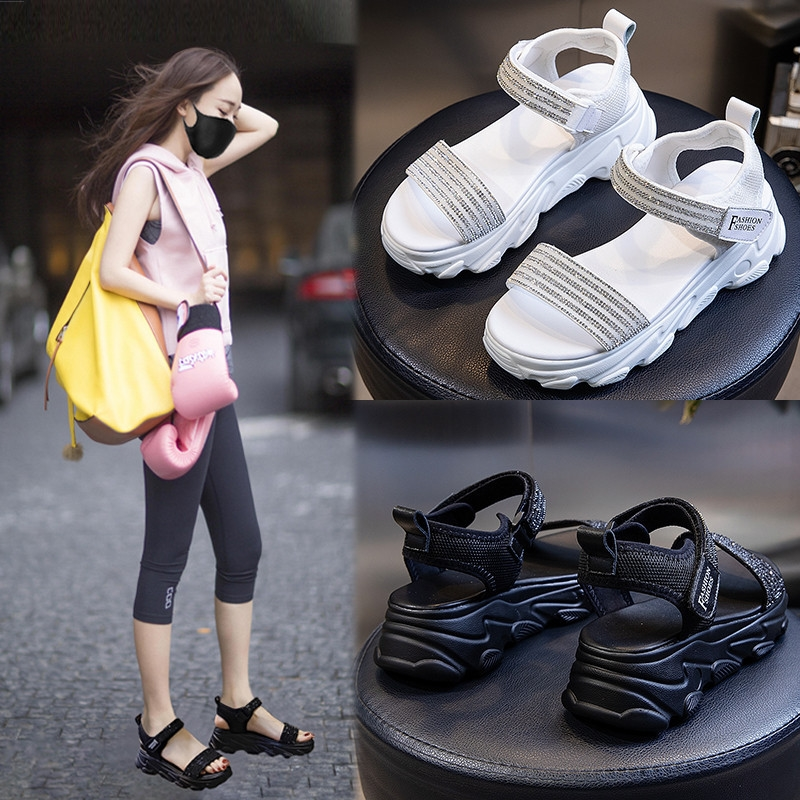Sandals lady 2020 net red new fashion ins super fire flat bottomed thick soled shoes sports sandals female student shoes fairy model