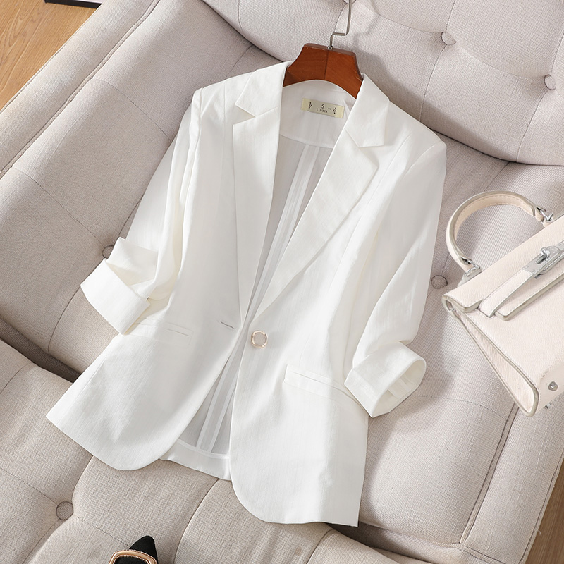 Small suit female jacket short small repair pieces summer thin section of the sleeves seven-point sleeve Korean casual suit suit