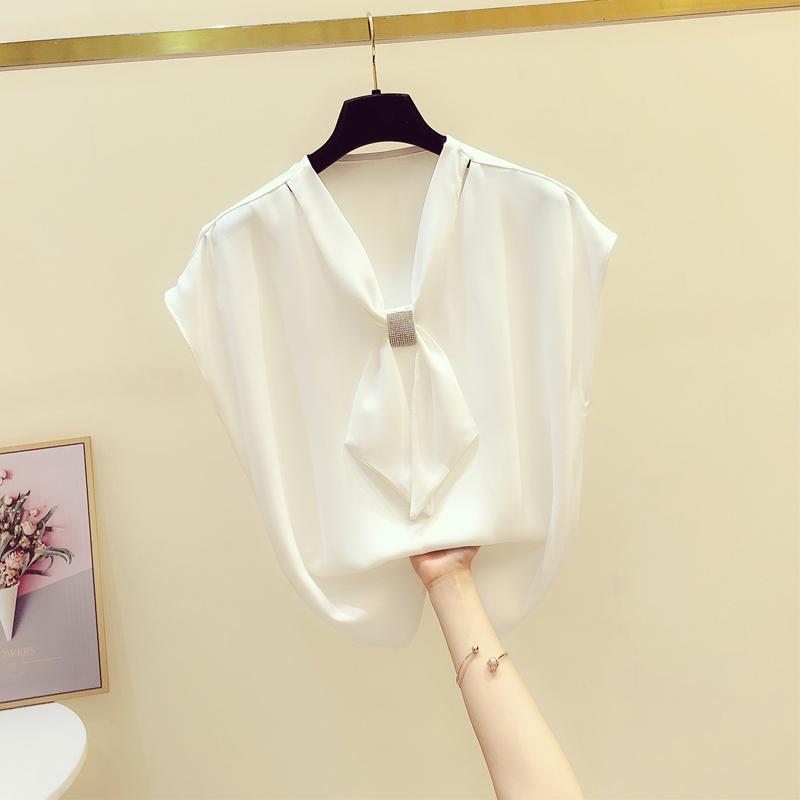 镶钻薄款雪纺衬衫女2021夏季新款韩版气质显瘦无袖领结套头衬衣