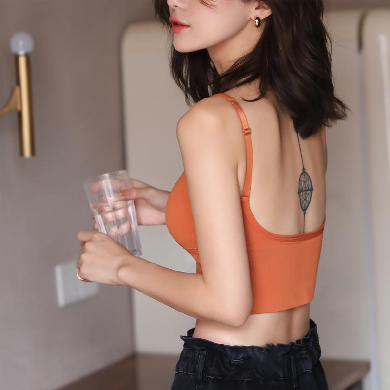 正版卡卡美背u型網紅爆款收腹背心女夏內搭打底帶胸墊小吊帶外穿