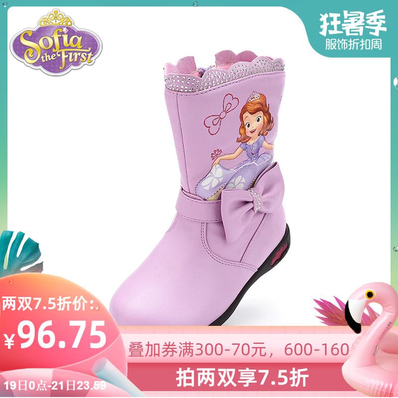 迪士尼童鞋女童加绒保暖皮靴时装靴2019冬季新款闪灯鞋公主靴子