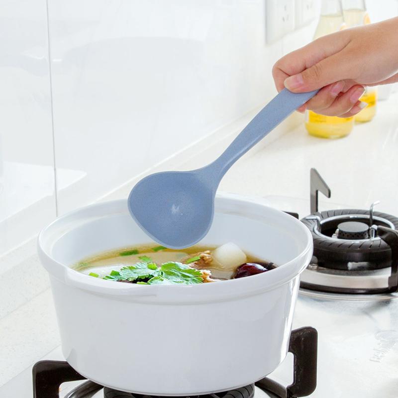 [小麦秸秆汤勺家用长柄小汤勺盛粥勺厨房厨具塑料] утепленный [大号稀饭勺子]