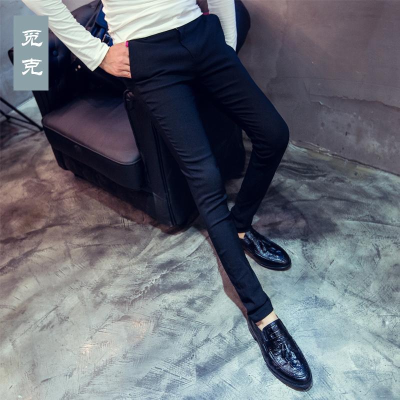 Autumn and winter Plaid Leggings mens Korean slim casual pants mens elastic tight trousers fashion stylist mens pants