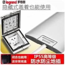 Luoglang tclIP55 hidden five hole plug stainless steel grey Waterproof panel type ground socket